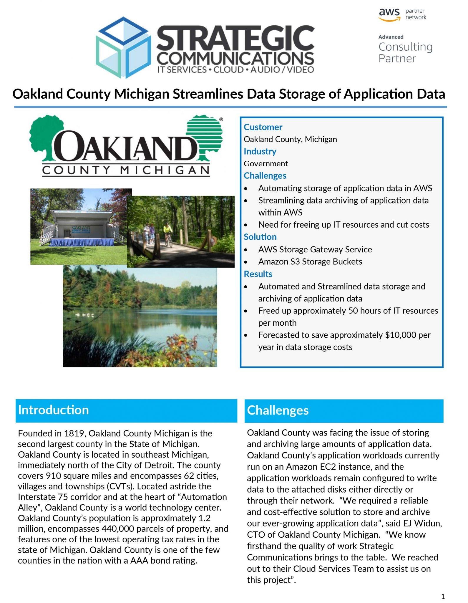 Oakland County Case Study - AWS Storage Gateway & S3