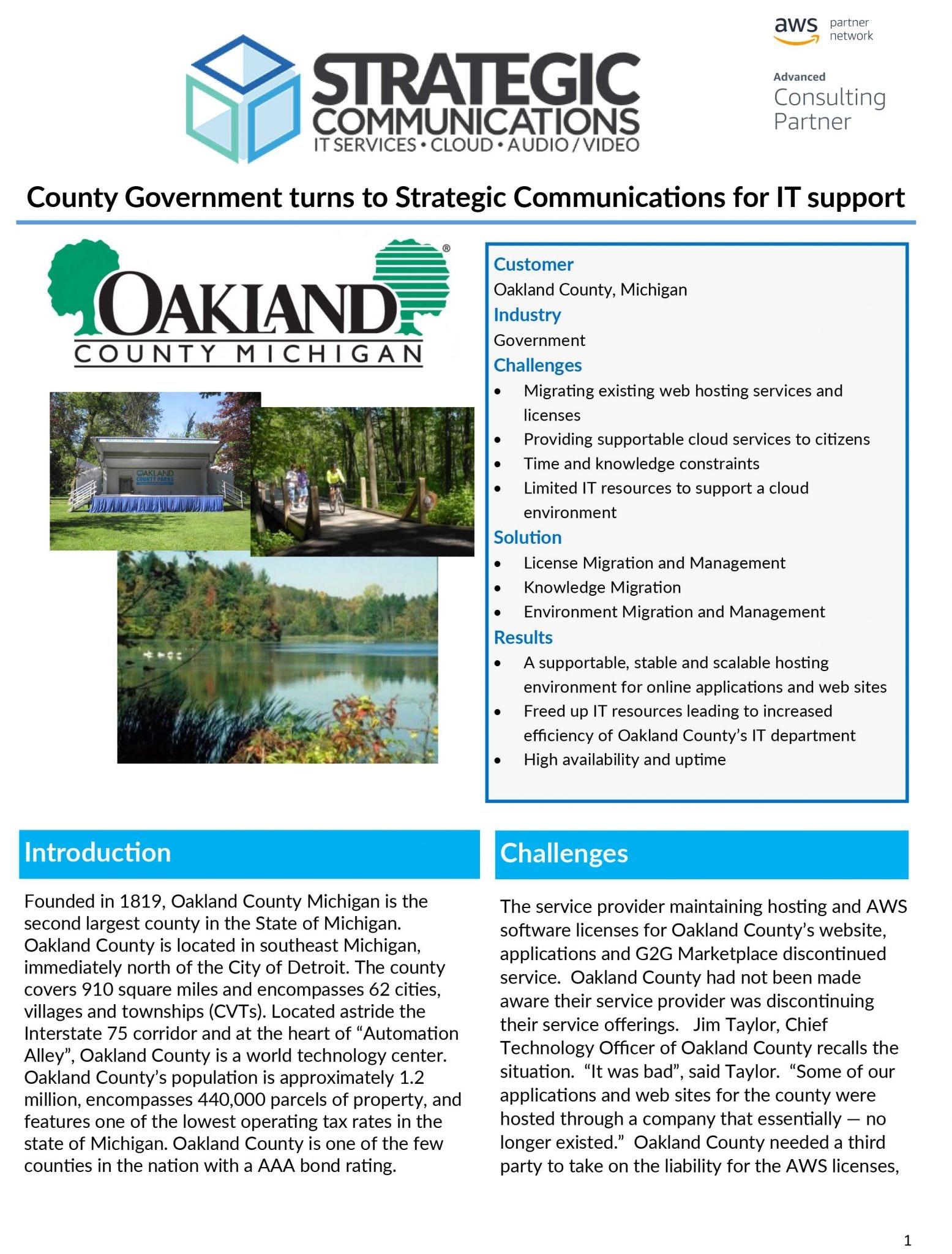 Oakland County Case Study