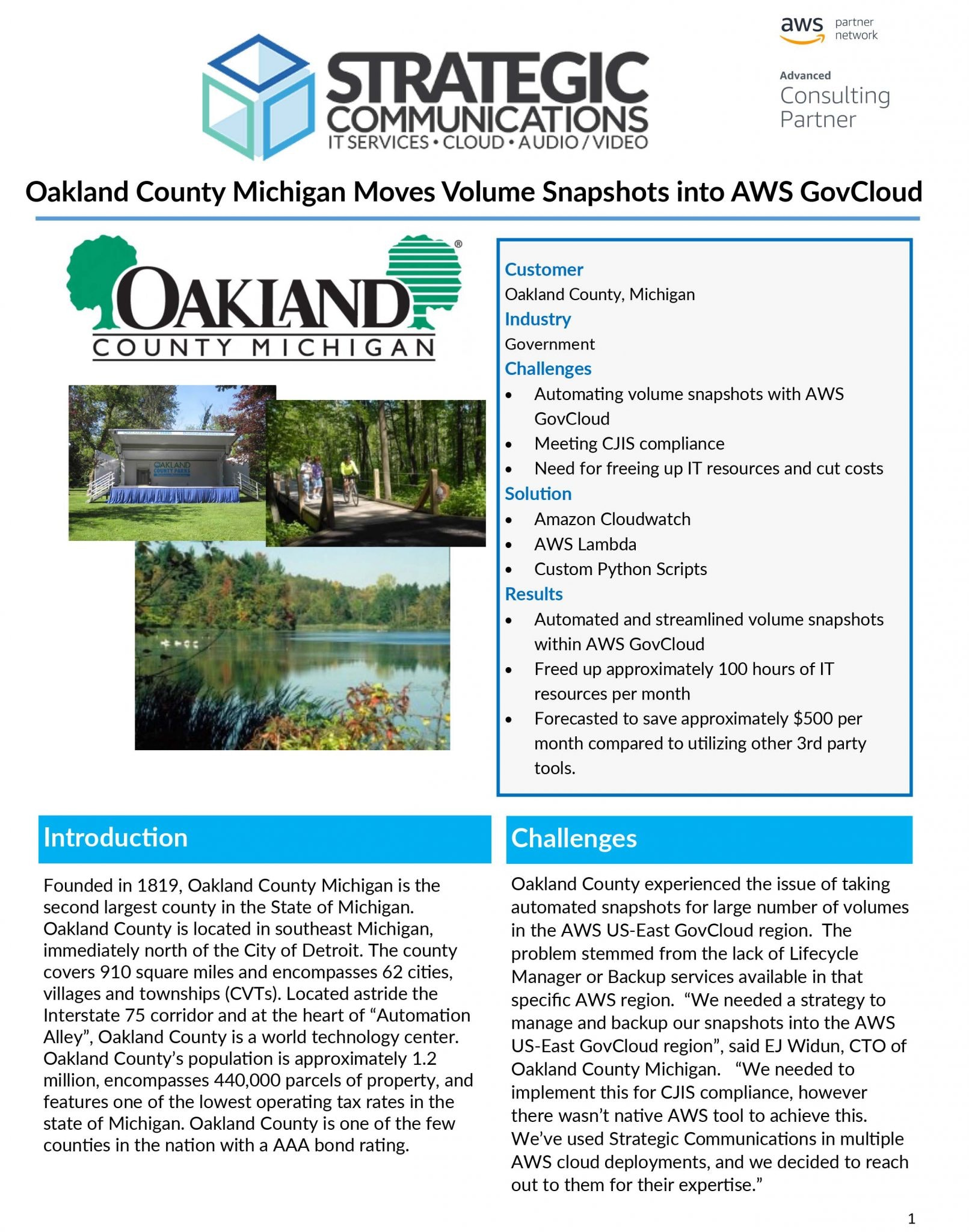 Oakland County Case Study - AWS Cloudwatch